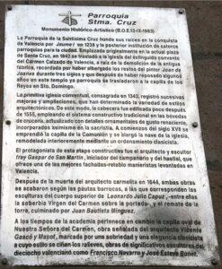 Texto explicativo Parroquia Santísima Cruz en Valencia