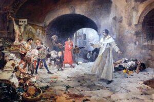 """""""El Padre Jofré protegiendo a un loco"""". Pintado por Joaquín Sorolla en 1887"""