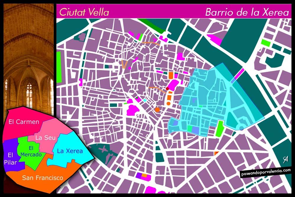 Plano del Barrio de la Xerea de Valencia