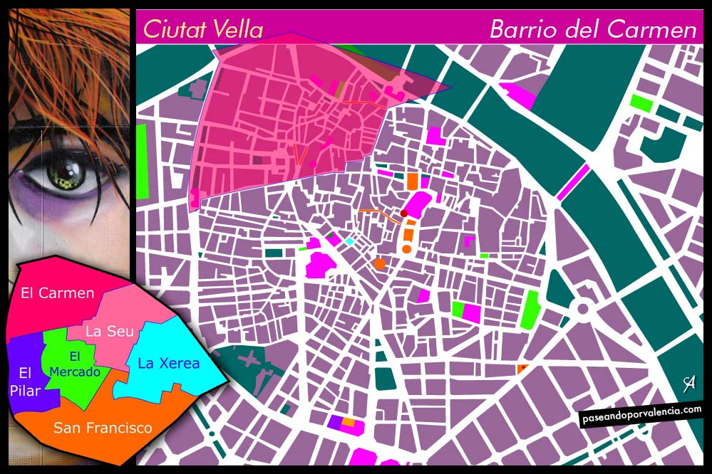 Plano del Barrio del Carmen de Valencia