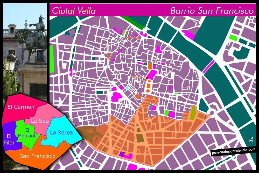 Plano del barrio de San Francisco de Valencia