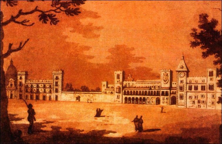 Palacio del Real, desaparecido. Al lado se ve el Palacio San Pío V.